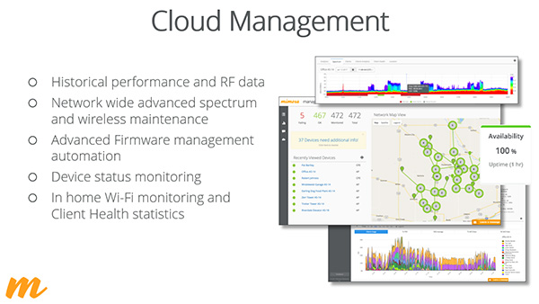 Presentation slide displaying Mimosa's cloud management platform capabilities