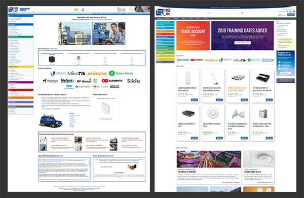 The old MS Distribution website (left) compared the new and improved site (right).