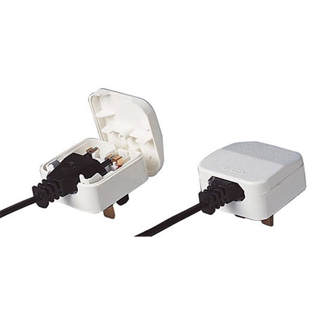 UK Mains Plug Adaptor for EU PSUs - White